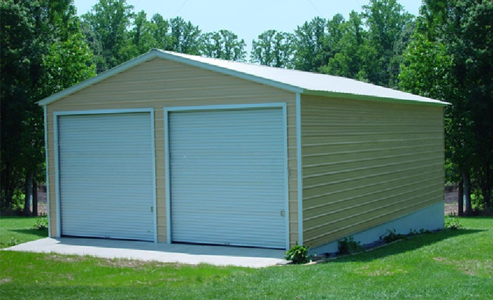 Steel buildings metal garages building kits prefab prices for Two car garage shed