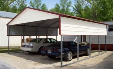 <p>Steel Carport With Boxed Eave Roof</p>