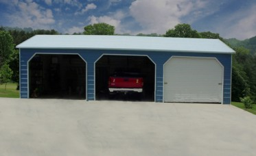 Steel garage kit photo gallery carports and metal barns 3 car metal garage kits