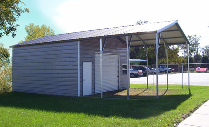 Wood vs wood veneer small storage buildings garage for Carport shop combo