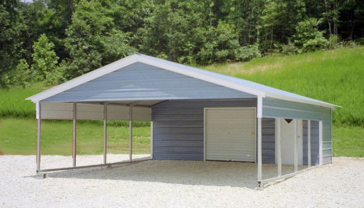 Steel garage carport combo one two or three car metal garage for Building a two car garage