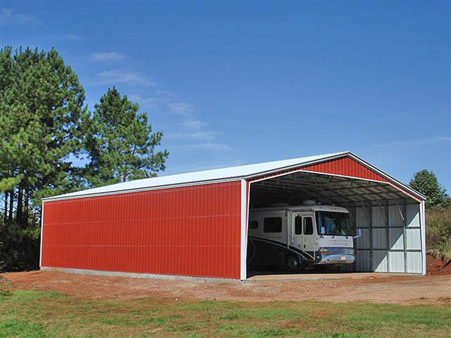 Rv storage buildings metal rv shelters rv carports for Large garage kits