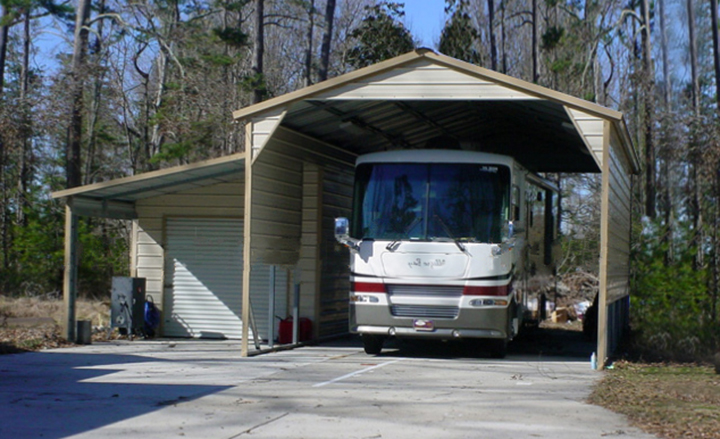 Rv shelters from eversafe buildings for Metal rv garage