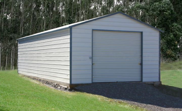 Steel garage kit photo gallery carports and metal barns for Single garage with carport