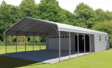 Steel buildings metal garages building kits prefab prices for Carport garage combo