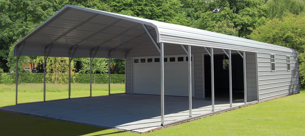 Steel buildings metal garages building kits prefab prices for Carports and garages
