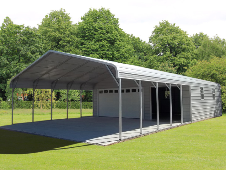 steel garage carport combo one two or three car metal garage ForCarport Shed Combo