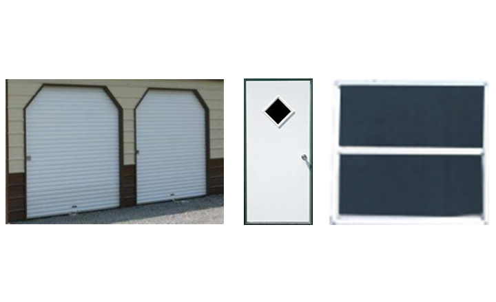Garage doors walk doors and windows for your steel building for Garage roofing options