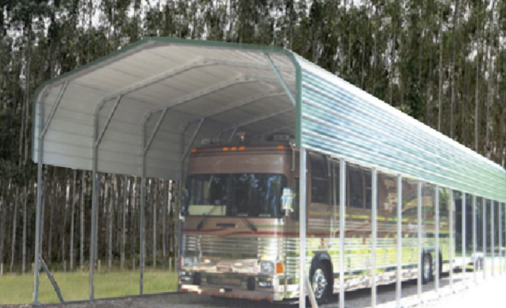 Rv storage buildings metal rv shelters rv carports for Motorhome storage building