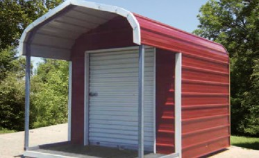 <p>A regular roof and 4' porch on this storage building adds charm and a distinct style</p>