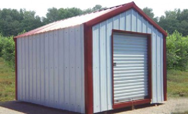 <p>This backyard storage building has a vertical roof and vertical wall panels.</p>