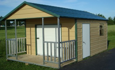 <p>Storage building with a 4' porch, roll up door, walk door and window.</p>