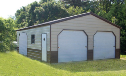 eversafe offers many different colors for your metal garage the above steel garage building has a brown roof and a two tone color wainscot for the walls