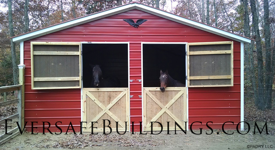 Custom metal horse barn in maryland eversafe buildings for 2 stall horse barn kits