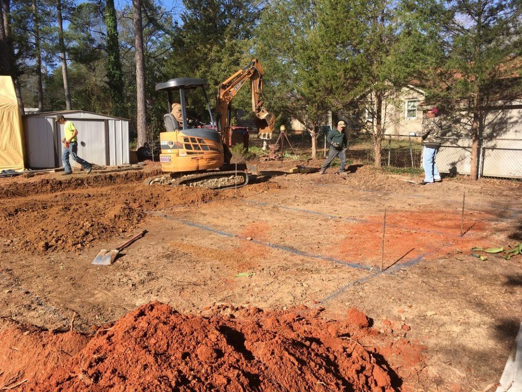 digging footing steel garage