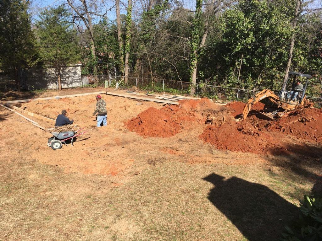 foundation forming metal garage