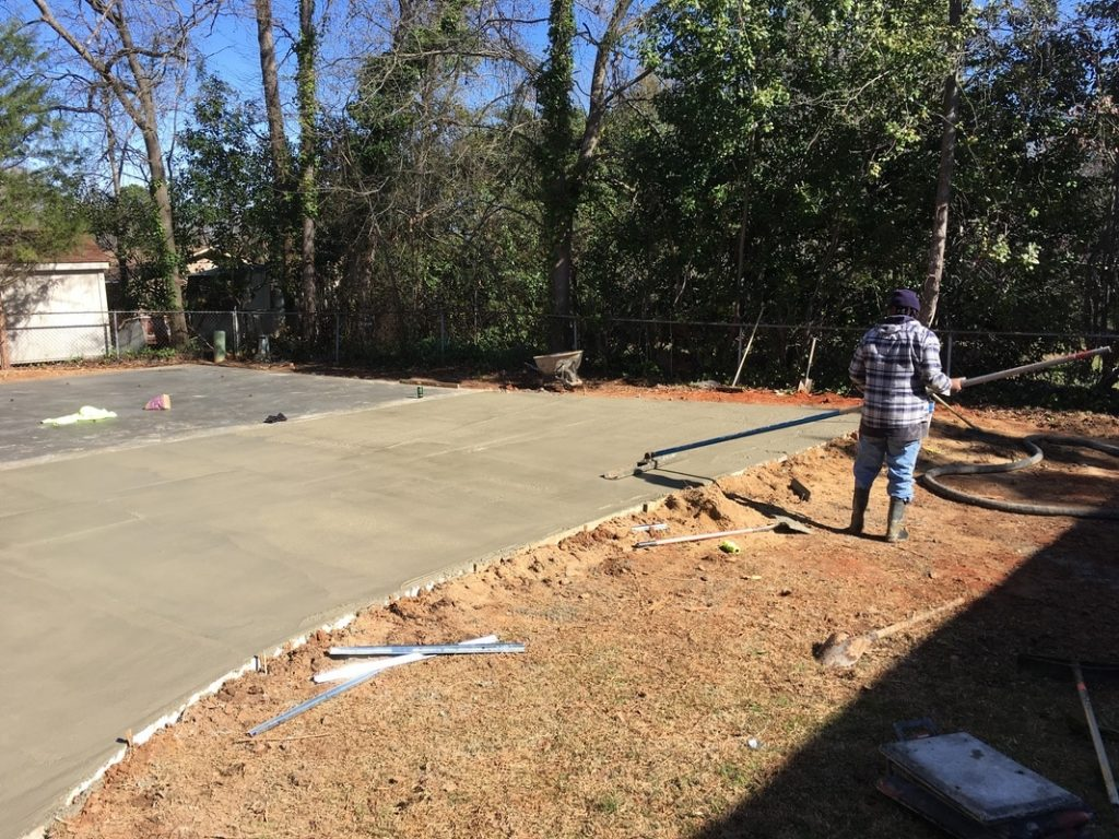 concrete finishing metal garage building