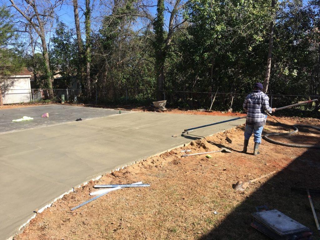 concrete finishing metal garage building