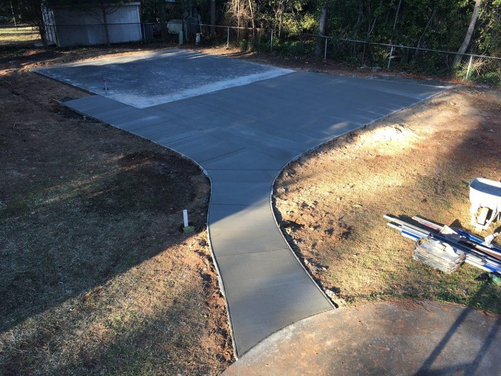 concrete apron garage steel building