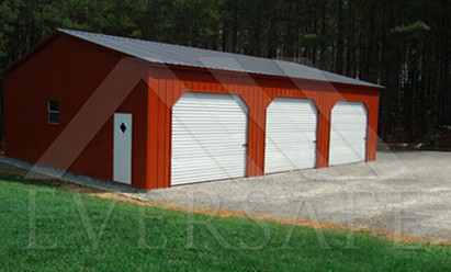 Red Steel Garage Buildings