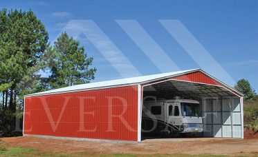 <p>Oversized RV Garage With Vertical Roof<br /> and Wall Sheeting</p>