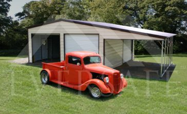 two car garage with lean to