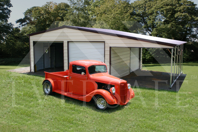 20x25 two Car Garage with lean-to