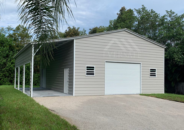 30×40 Steel Garage with Lean-To