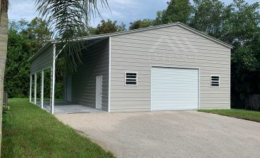 30x40 Metal Garage with Lean-To