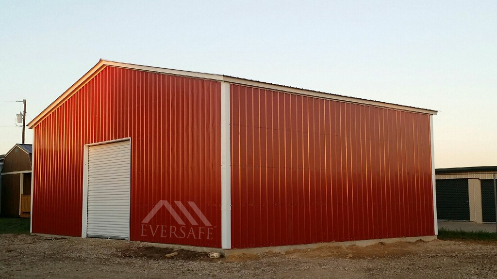 Red Metal Building Garage