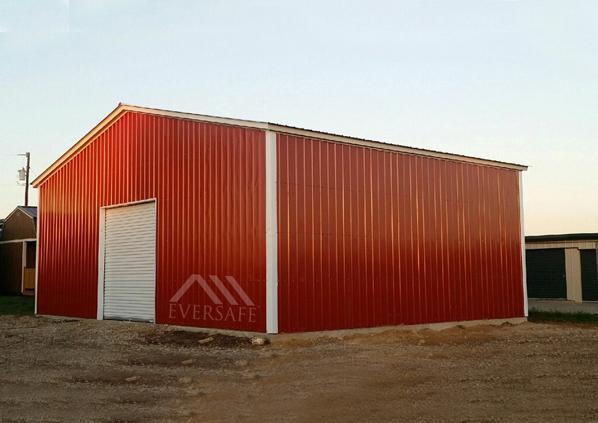 Red Metal Building Garage