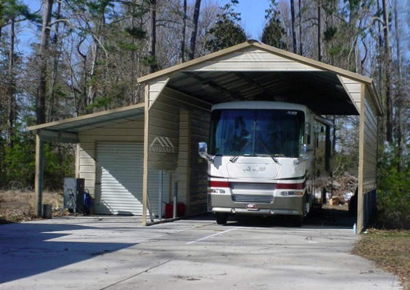 Metal RV Shelter with Vertical Roof