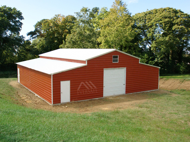 Monitor Barn with White Roof