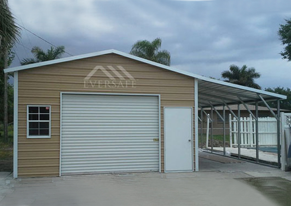 18×25 Steel Garage with Lean-To
