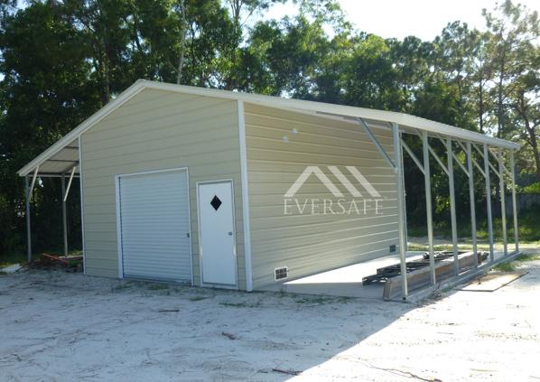 18x25 18x25 Steel Garage with Lean-tos